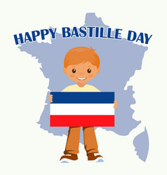 Smiling child boy holding a france flag isolated vector