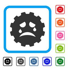 Tiers smiley gear framed icon vector
