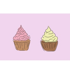 Two muffins vector image
