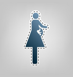 women and baby sign blue icon with vector image