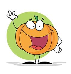 Waving Pumpkin Mascot Cartoon Character vector image