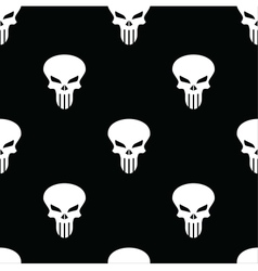 White skulls on a black seamless pattern vector
