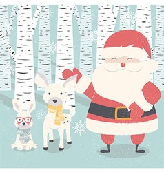 Christmas card Santa Claus deer and rabbit vector image