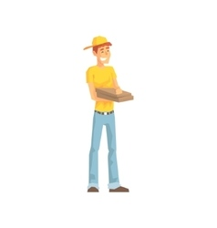 Smiling guy with pizza box delivery company vector