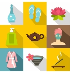 Relaxation icons set flat style vector