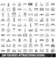 10 tourist attractions icons set outline style vector image