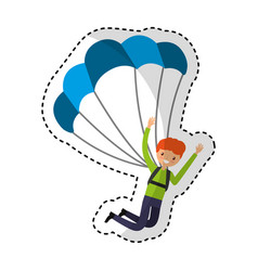 Young man with parachute vector