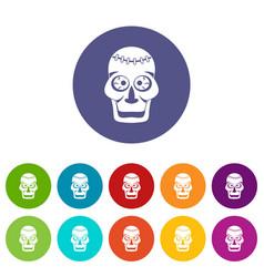 skull icons set flat vector image