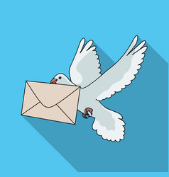 post pigeonmail and postman single icon in flat vector image