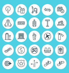 Airport icons set collection of crossroad vector