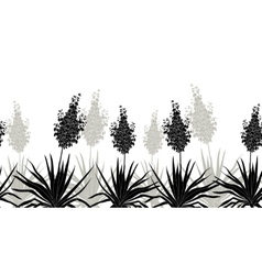 Flowers yucca silhouette horizontal seamless vector