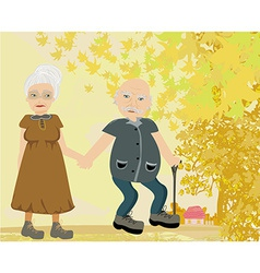 Senior couple walking in autumn day vector