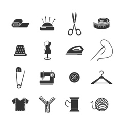 Sewing icon black set vector