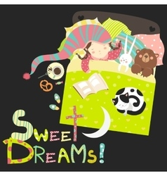 Little girl sleeping with toys and cat vector