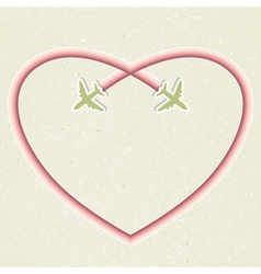 Romantic card with two flying aircraft and vector