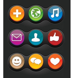 Set of nine social media buttons on black backgrou vector
