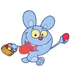 Blue bunny running and holding up an egg vector