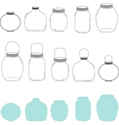Jars set silhouettes jar vector