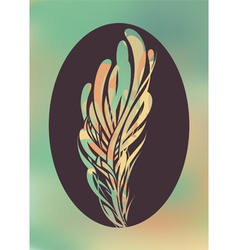 Abstract feather in black frame vector