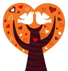 Birds couple in a orange heart tree vector image vector image
