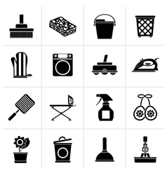Black household objects and tools icons vector
