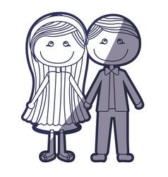 Blue color contour caricature couple in suit vector