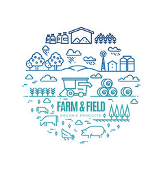 bright rural landscape and agriculture farming vector image