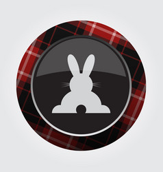 Button red black tartan - rabbit rear view icon vector