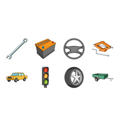 car vehicle icons in set collection for design vector image