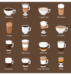 Coffee cups different cafe drinks types espresso vector image vector image