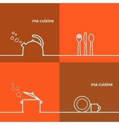 Cookware Set kettle pot spoon fork knife cup vector image