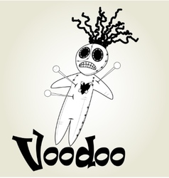 Cute black and white voodoo doll vector