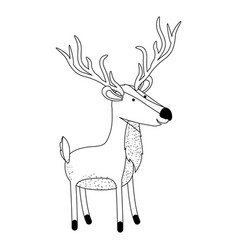 Deer cartoon with long horns in monochrome vector