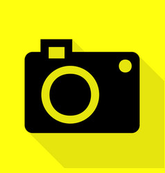 Digital camera sign black icon with flat style vector