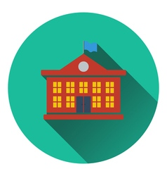 Flat design icon of School building in ui colors vector image vector image