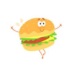 funny burger cartoon fast food character element vector image