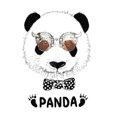 Funny panda head steampunk vector
