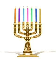 golden menorah vector image vector image