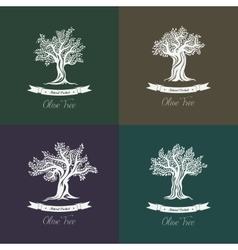 Greek mediterranean olive oil trees set of icons vector image vector image