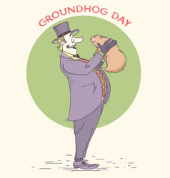groundhog day holiday hand drawn vintage vector image vector image