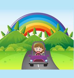 Happy girl driving in purple car vector