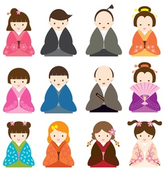 Japanese people dress in traditional costume set vector