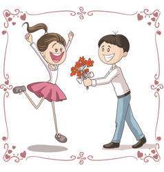 Man brings flowers to shy woman cartoon vector