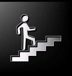 Man on stairs going up gray 3d printed vector