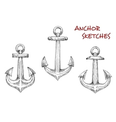 Old marine anchors hand drawn sketches vector image vector image