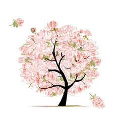 Pink floral tree sketch for your design vector image vector image