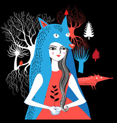 portrait of a wolf girl nature vector image