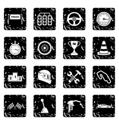 Racing speed icons set vector