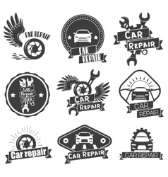Set of auto service labels in vintage style vector