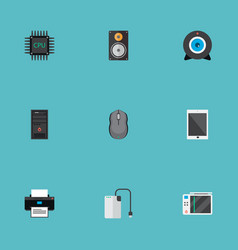 set of computer icons flat style symbols with game vector image